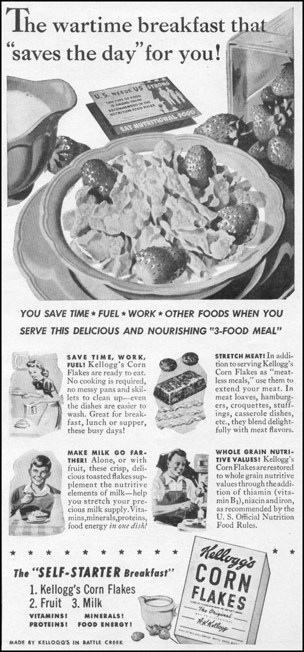 KELLOGG'S CORN FLAKES WOMAN'S DAY 05/01/1943 p. 64
