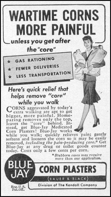BLUE JAY CORN PLASTERS WOMAN'S DAY 05/01/1943 p. 71
