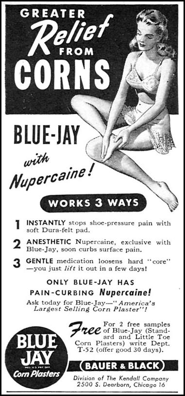 BLUE JAY CORN PLASTERS WOMAN'S DAY 05/01/1946 p. 85