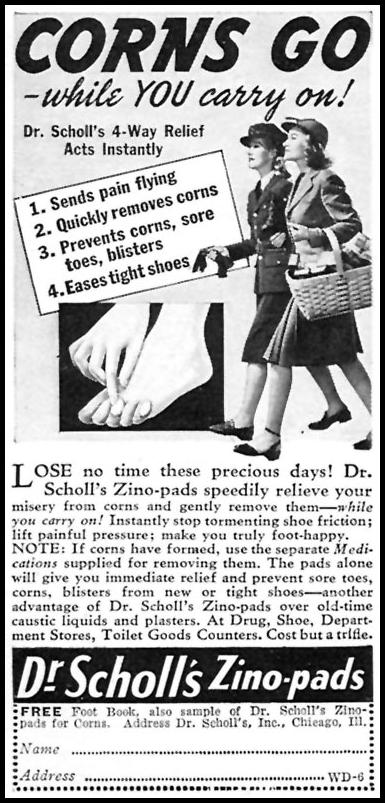 DR. SCHOLL'S ZINO PADS WOMAN'S DAY 06/01/1943 p. 62