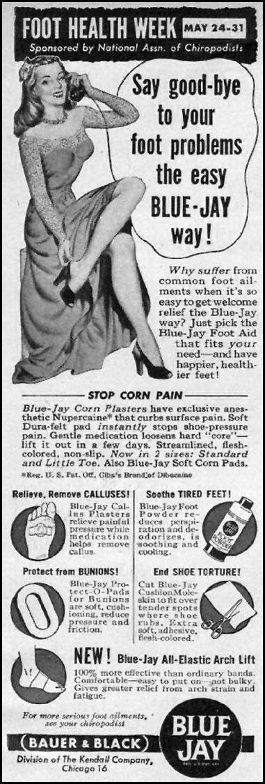 BLUE-JAY CORN PLASTERS WOMAN'S DAY 06/01/1947 p. 102