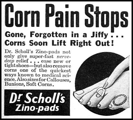 DR. SCHOLL'S ZINO-PADS WOMAN'S DAY 06/01/1958 p. 96
