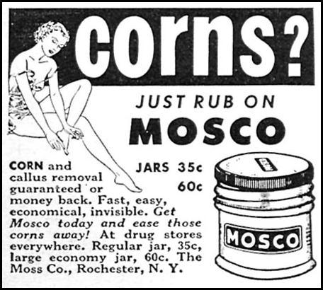 MOSCO CORN AND CALLUS REMOVER WOMAN'S DAY 06/01/1958 p. 86