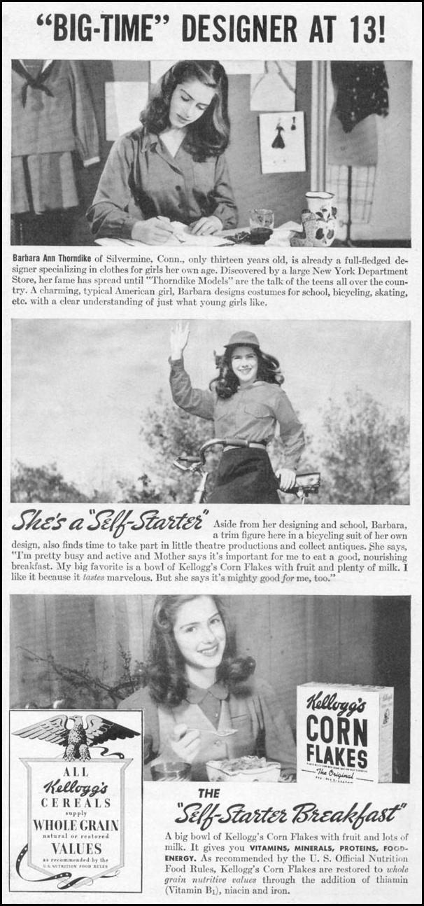 KELLOGG'S CORN FLAKES WOMAN'S DAY 09/01/1942 p. 61