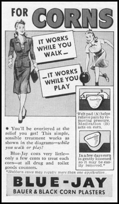 BLUE JAY CORN PLASTERS WOMAN'S DAY 09/01/1942 p. 72