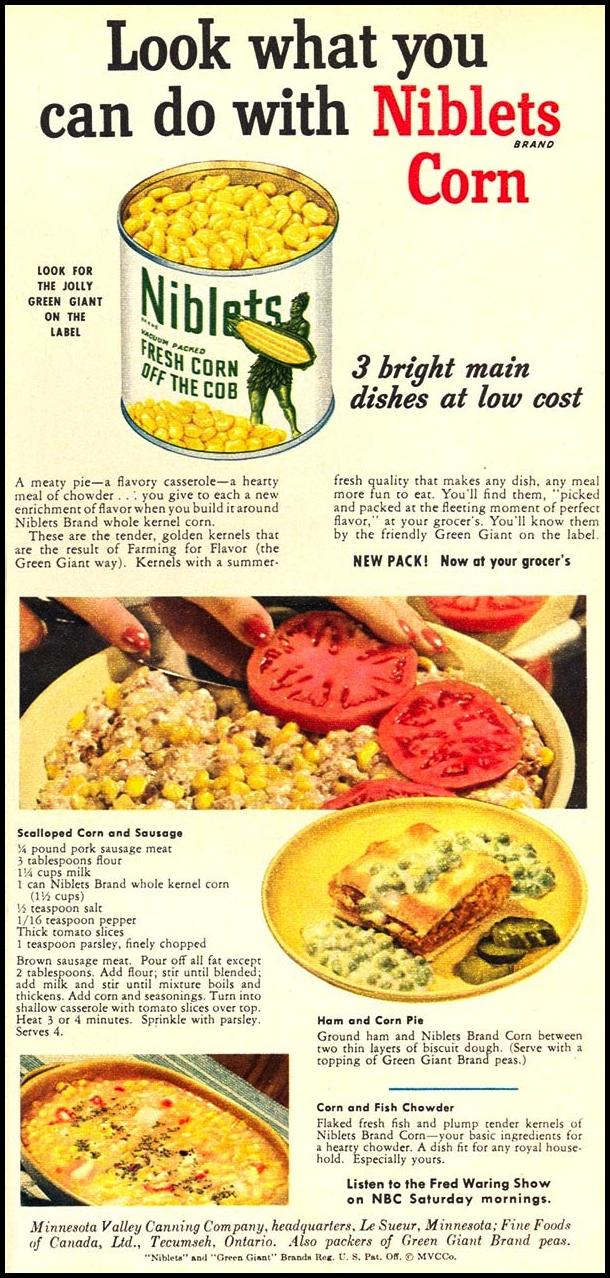 GREEN GIANT NIBLETS BRAND CANNED CORN WOMAN'S DAY 10/01/1949 p. 75