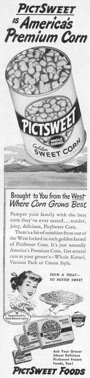 PICTSWEET GOLDEN SWEET CORN WOMAN'S DAY 12/01/1948 p. 4