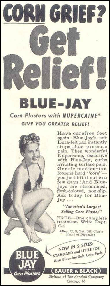 BLUE JAY CORN PLASTERS GOOD HOUSEKEEPING 07/01/1948 p. 218