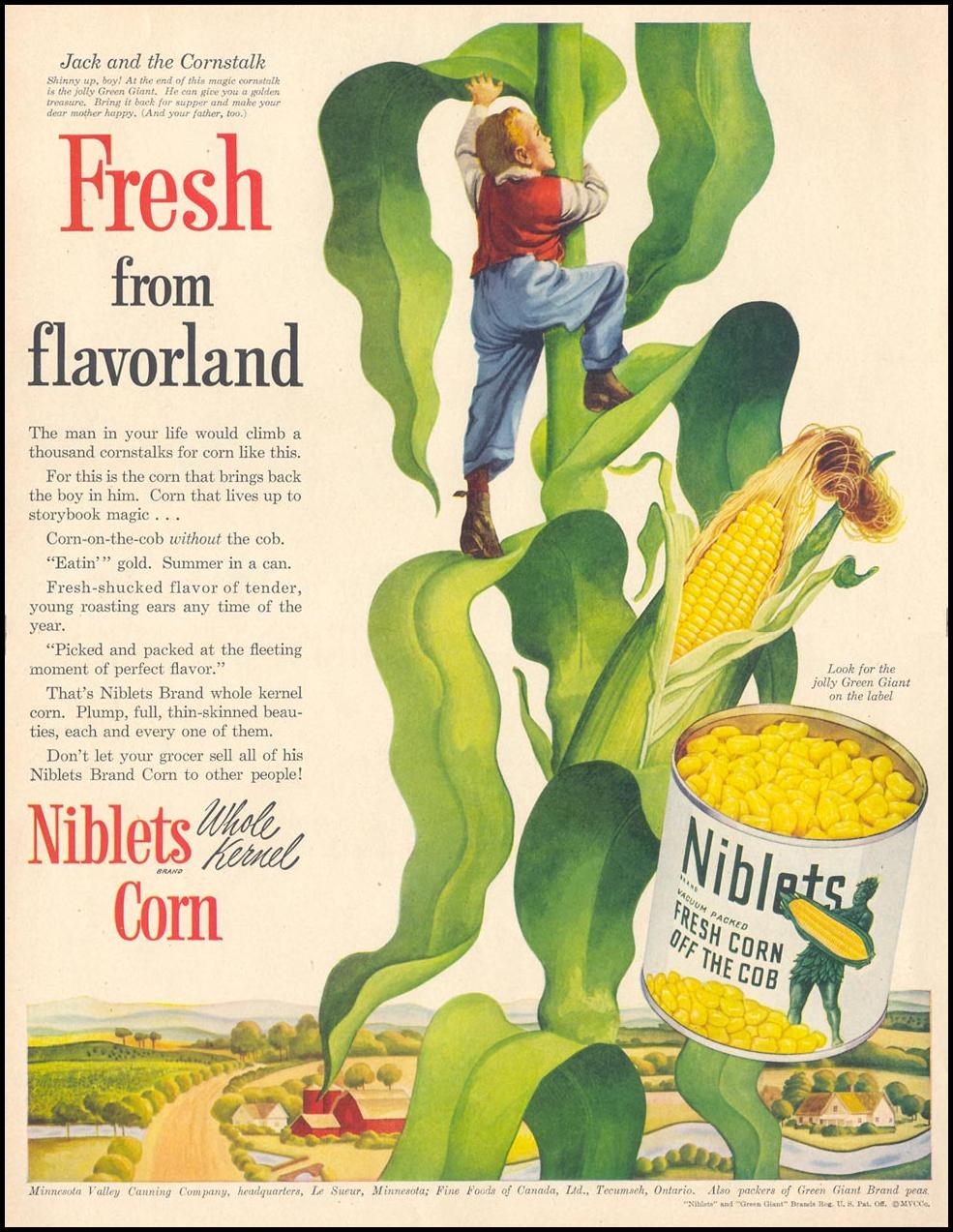GREEN GIANT NIBLETS WHOLE KERNEL CORN LIFE 04/17/1950 p. 80