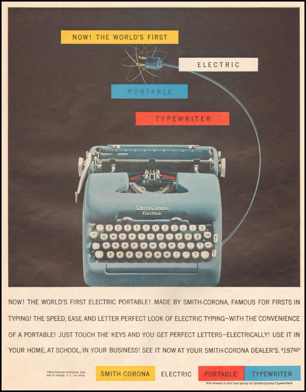 SMITH-CORONA TYPEWRITERS LIFE 05/19/1958 p. 81