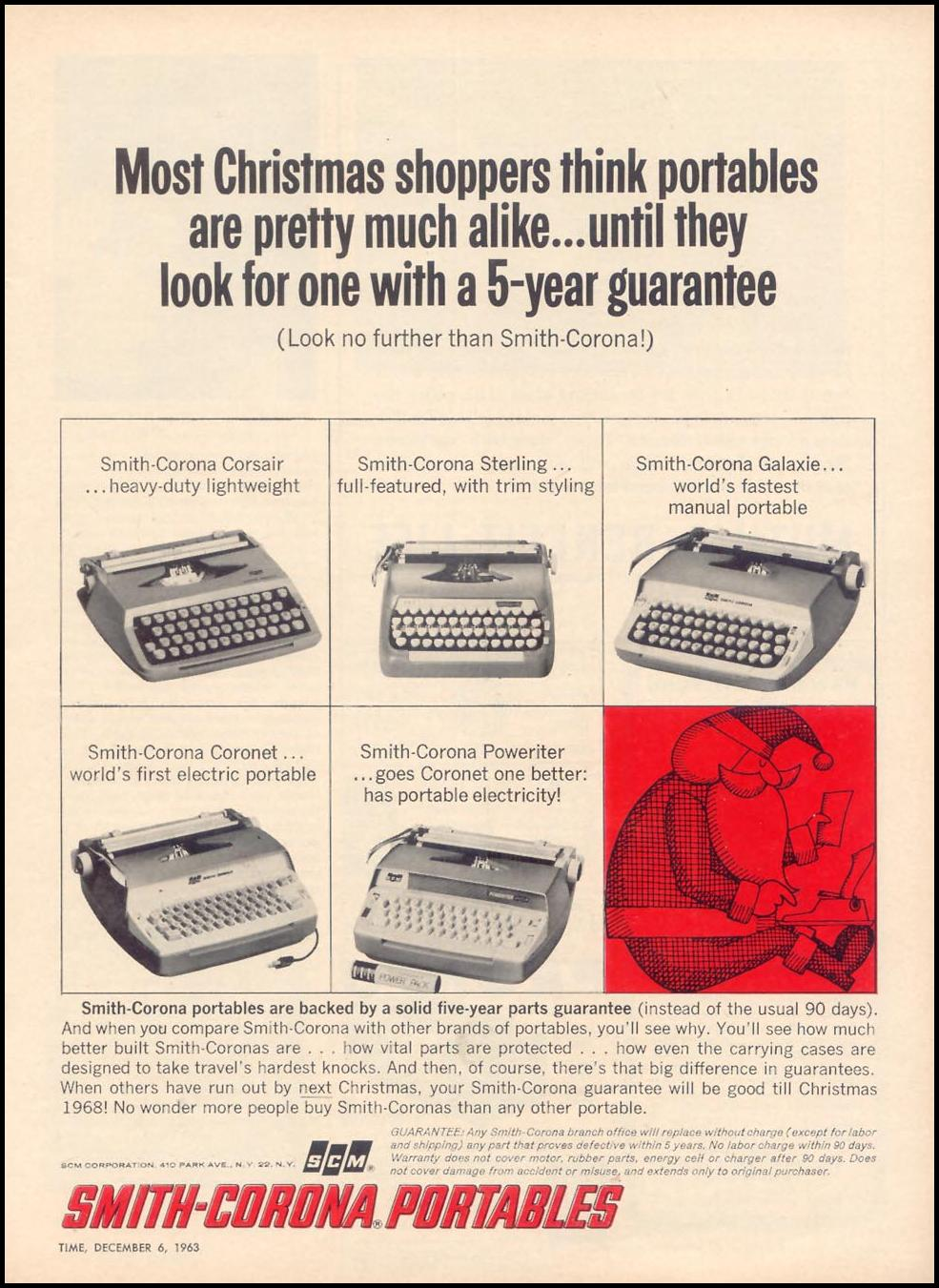 SMITH-CORONA PORTABLE TYPEWRITERS TIME 12/06/1963 p. 75