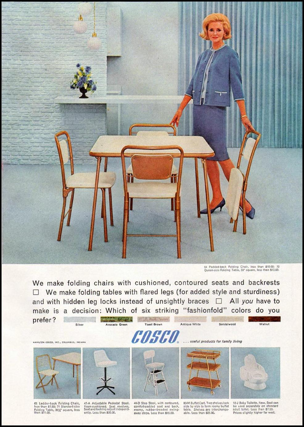 COSCO FOLDING FURNITURE GOOD HOUSEKEEPING 10/01/1965 p. 185