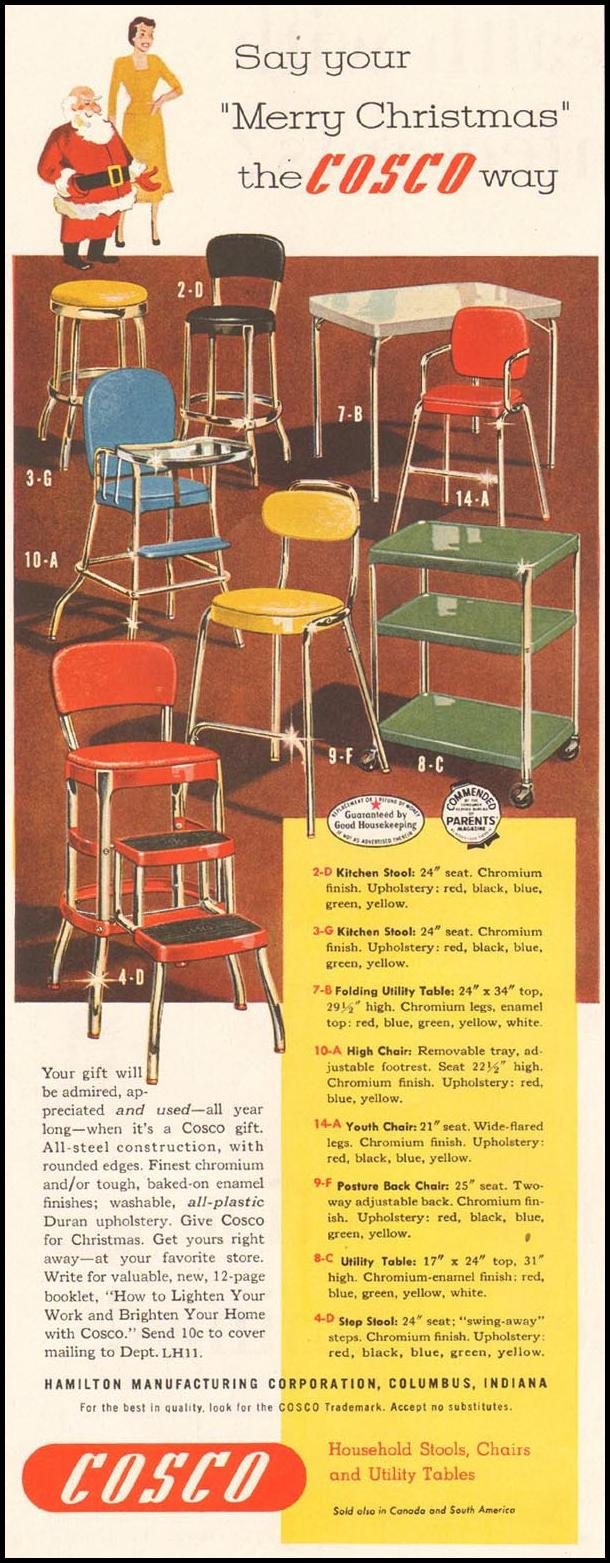 COSCO CHAIRS, STOOLS AND TABLES LADIES' HOME JOURNAL 11/01/1950 p. 140