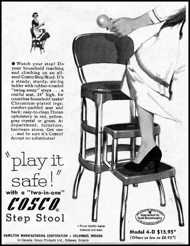 COSCO TWO-IN-ONE STEP STOOL LADIES' HOME JOURNAL 03/01/1954 p. 171