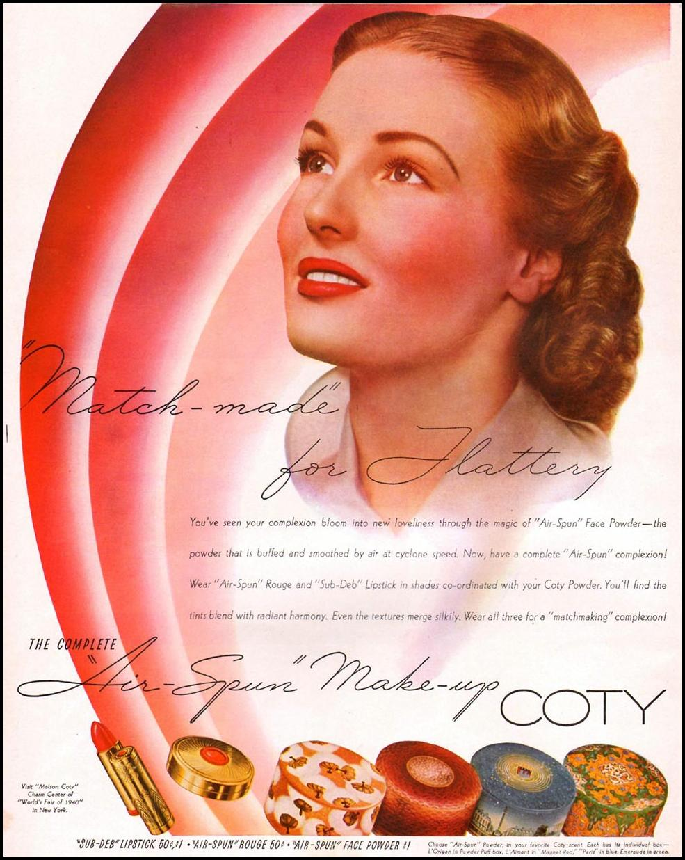 COTY AIR-SPUN MAKE-UP LIFE 09/16/1940