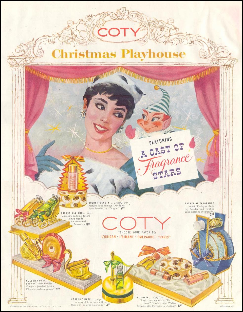 COTY PERFUMES SATURDAY EVENING POST 12/10/1955