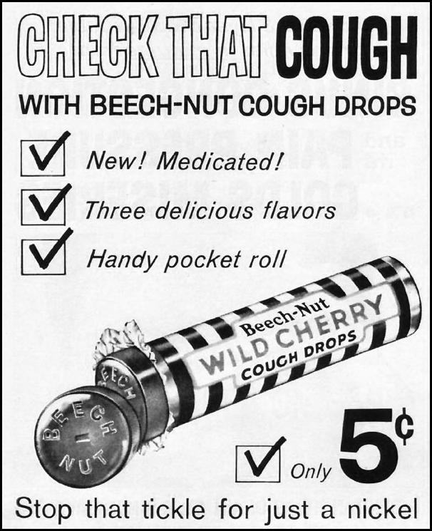 BEECH-NUT WILD CHERRY COUGH DROPS LIFE 03/31/1961 p. 70