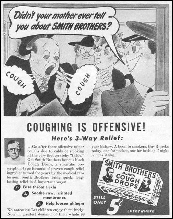SMITH BROS. COUGH DROPS LIFE 11/25/1946 p. 104