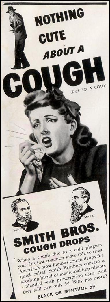 SMITH BROS. COUGH DROPS LIFE 11/30/1942 p. 143