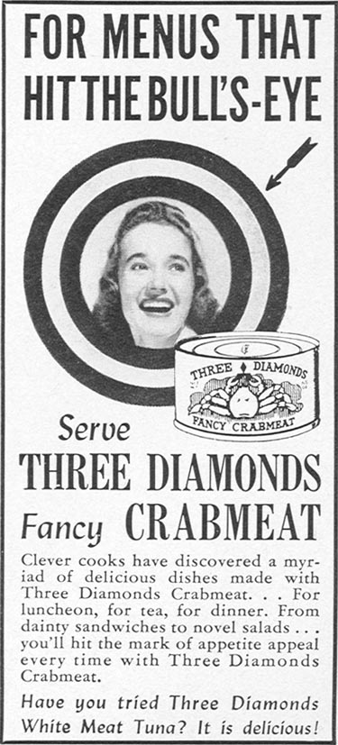 THREE DIAMONDS CRABMEAT WOMAN'S DAY 05/01/1940 p. 57