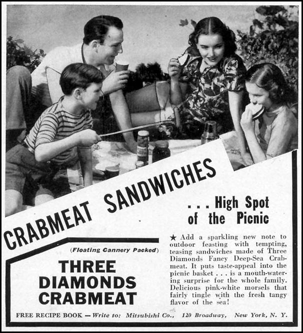 THREE DIAMONDS CRABMEAT WOMAN'S DAY 08/01/1940 p. 59