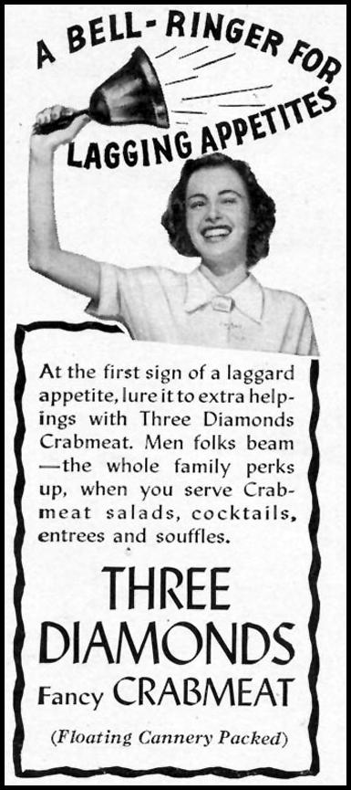 THREE DIAMONDS CRABMEAT WOMAN'S DAY 10/01/1940 p. 48
