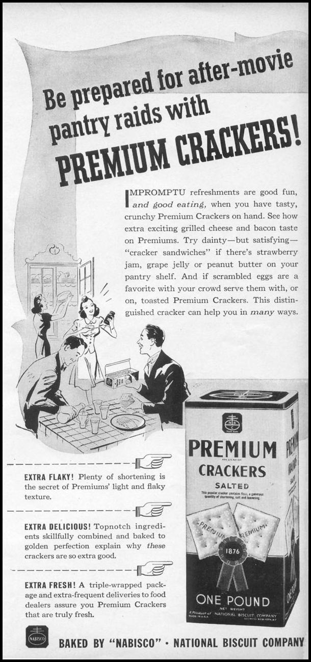 NABISCO PREMIUM SALTED CRACKERS WOMAN'S DAY 04/01/1941 p. 45