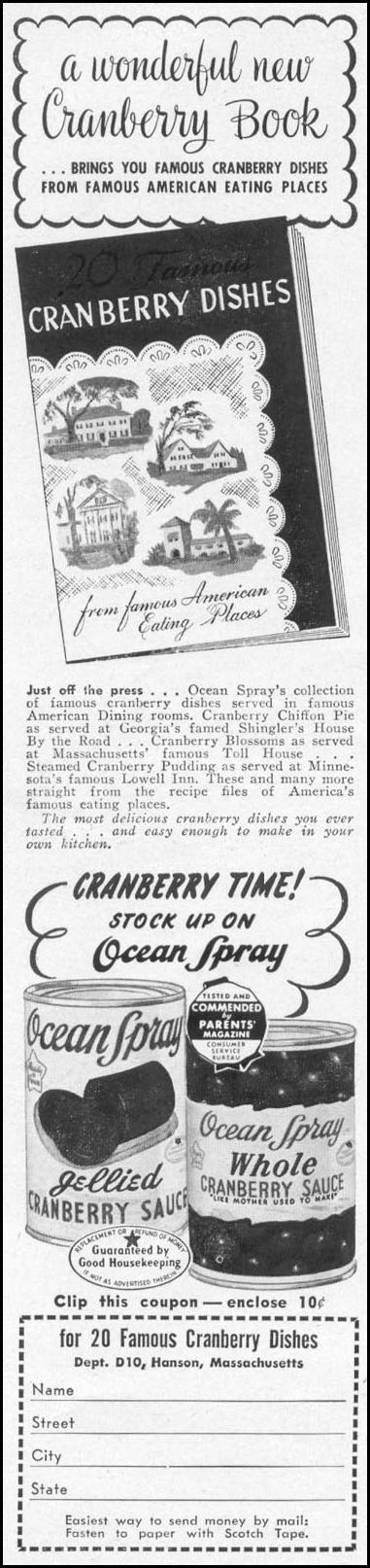 OCEAN SPRAY CRANBERRY SAUCE WOMAN'S DAY 10/01/1949 p. 102
