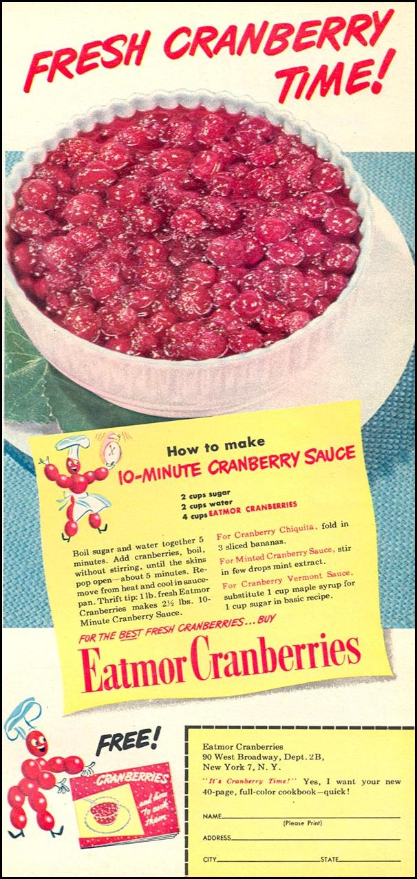 FRESH CRANBERRIES WOMAN'S DAY 12/01/1948 p. 63