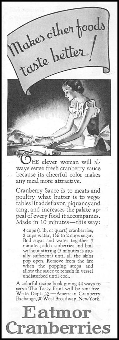 EATMOR CRANBERRIES GOOD HOUSEKEEPING 12/01/1933 p. 183