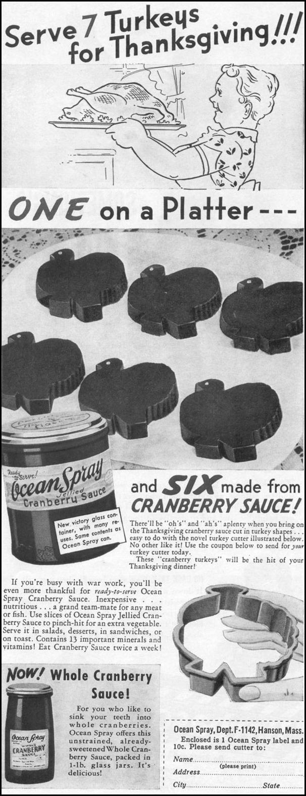 OCEAN SPRAY CRANBERRY SAUCE LIFE 11/02/1942 p. 117