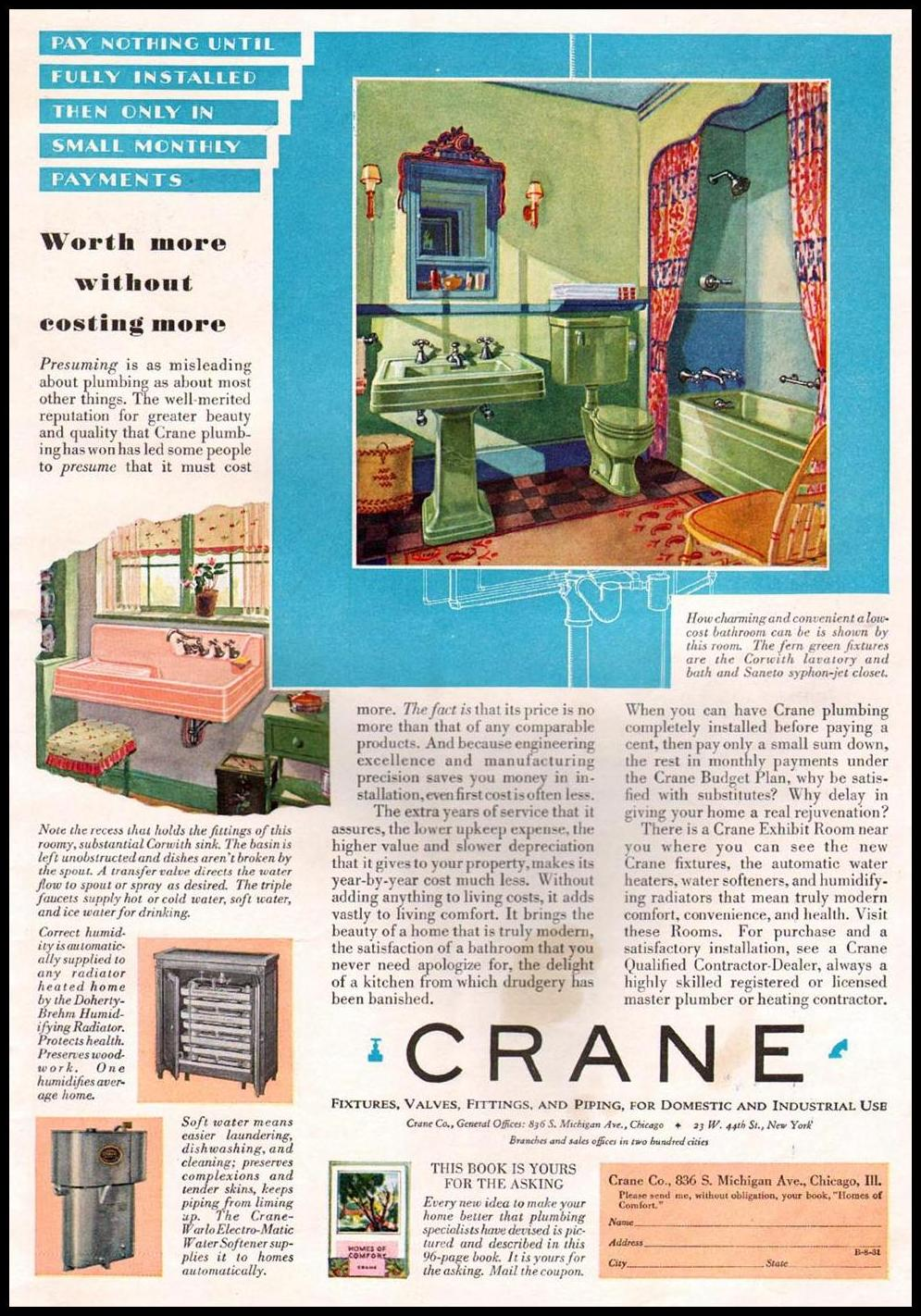 CRANE BATHROOM FIXTURES BETTER HOMES AND GARDENS 08/01/1931 INSIDE BACK