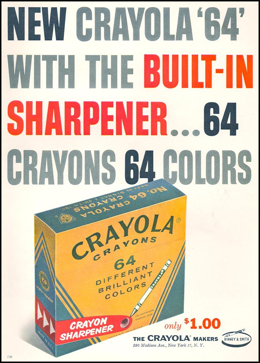 CRAYOLA CRAYONS FAMILY CIRCLE 02/01/1958 INSIDE BACK