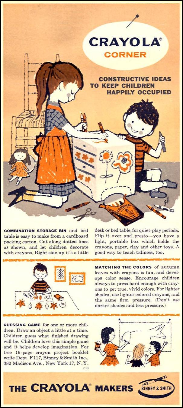 CRAYOLA CRAYONS FAMILY CIRCLE 11/01/1957 p. 67