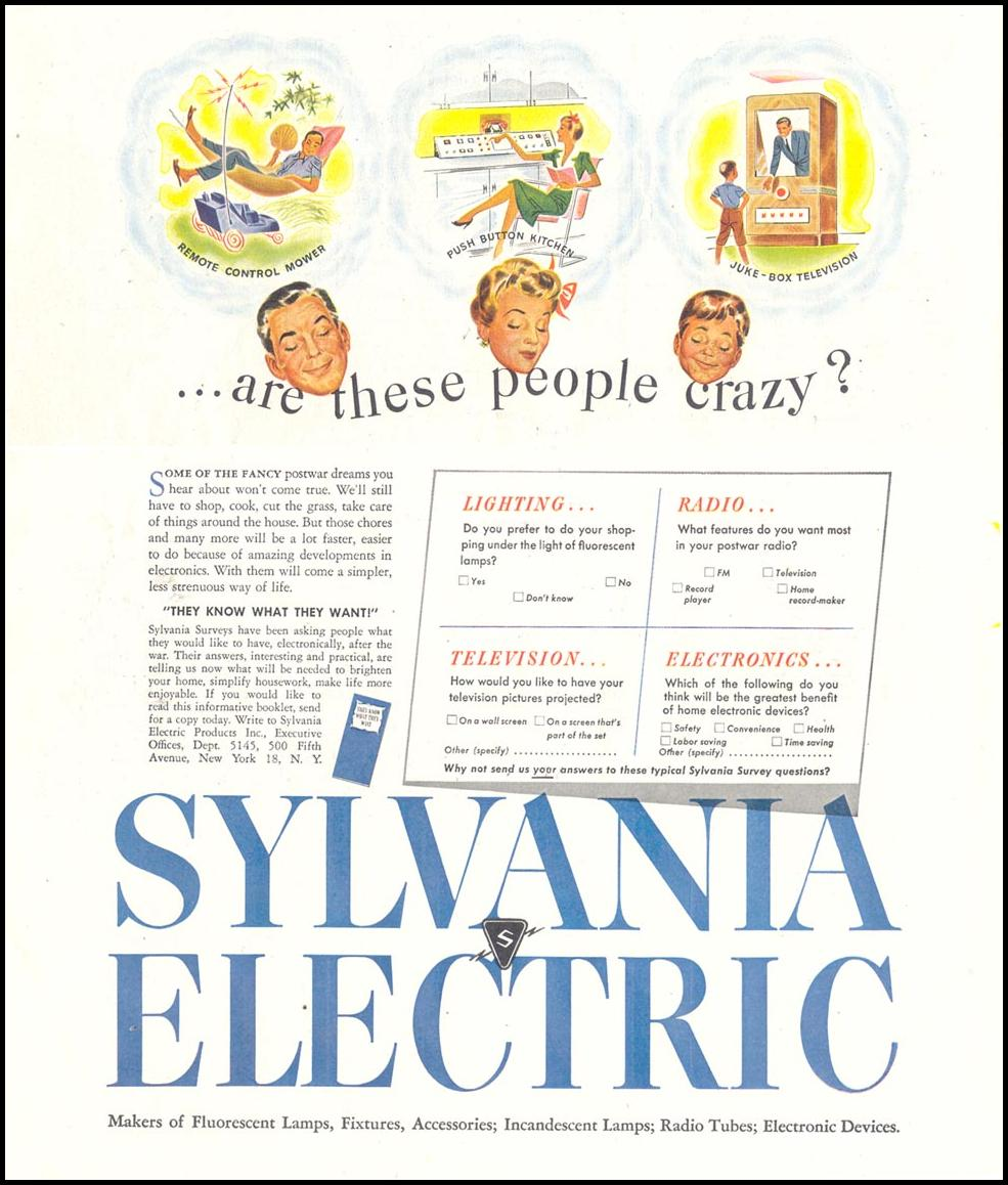POSTWAR ELECTRIC PRODUCTS SATURDAY EVENING POST 05/19/1945 p. 62