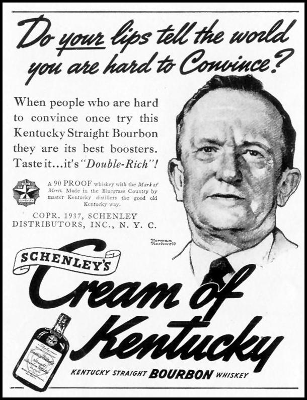 SCHENLEY'S CREAM OF KENTUCKY BOURBON LIFE 08/30/1937 p. 92