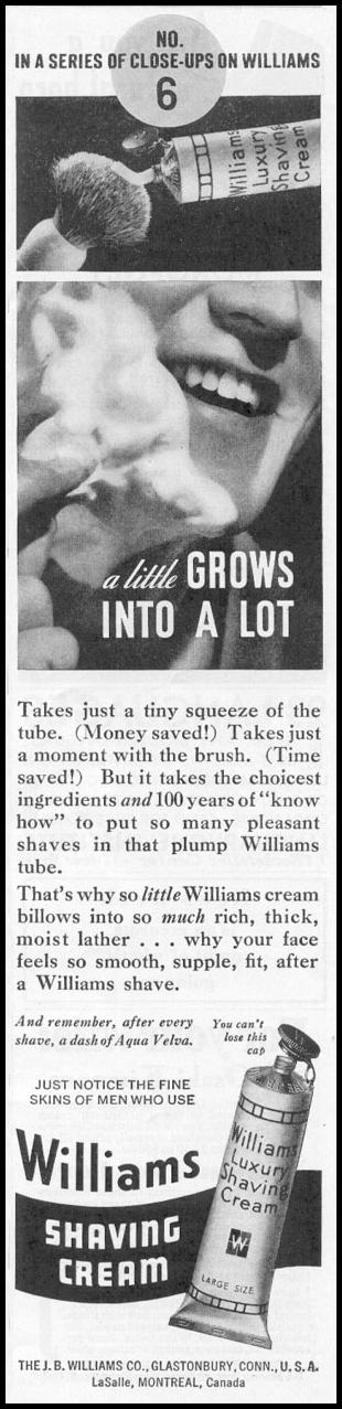WILLIAMS SHAVING CREAM NEWSWEEK 11/09/1935 p. 36