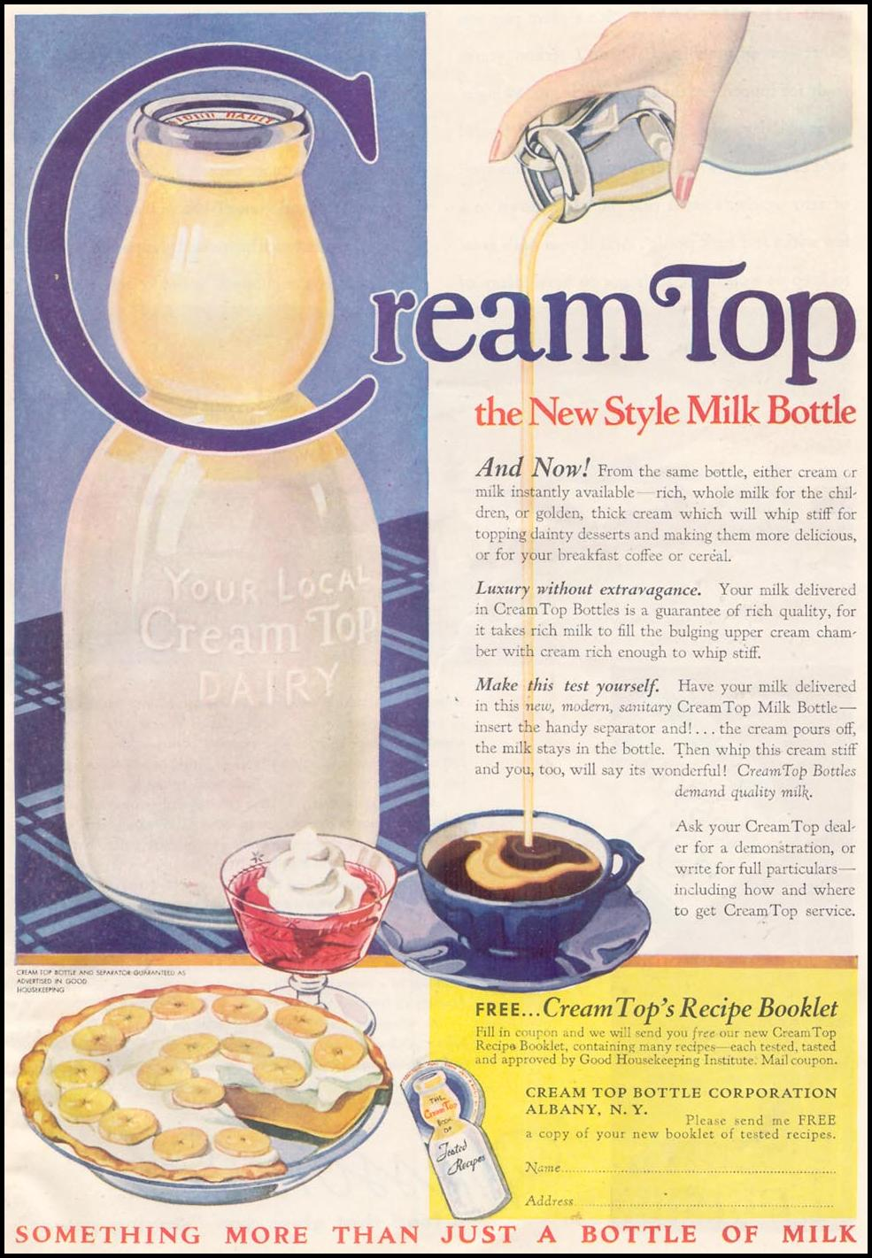 CREAM TOP MILK BOTTLES GOOD HOUSEKEEPING 03/01/1935