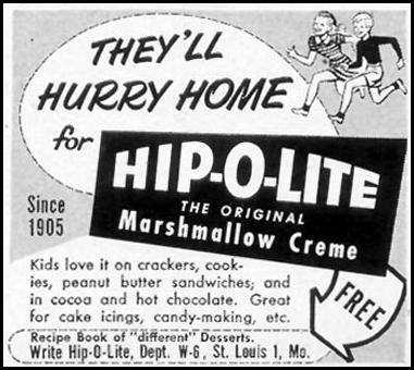 HIP-O-LITE MARSHMALLOW CREME WOMAN'S DAY 10/01/1954 p. 175