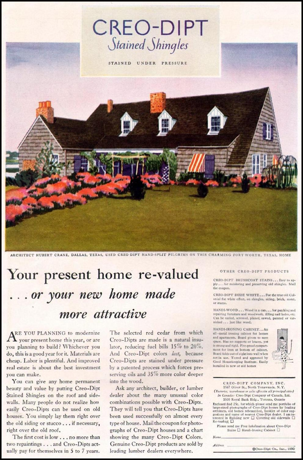 CREO-DIPT STAINED SHINGLES BETTER HOMES AND GARDENS 10/01/1930 p. 76