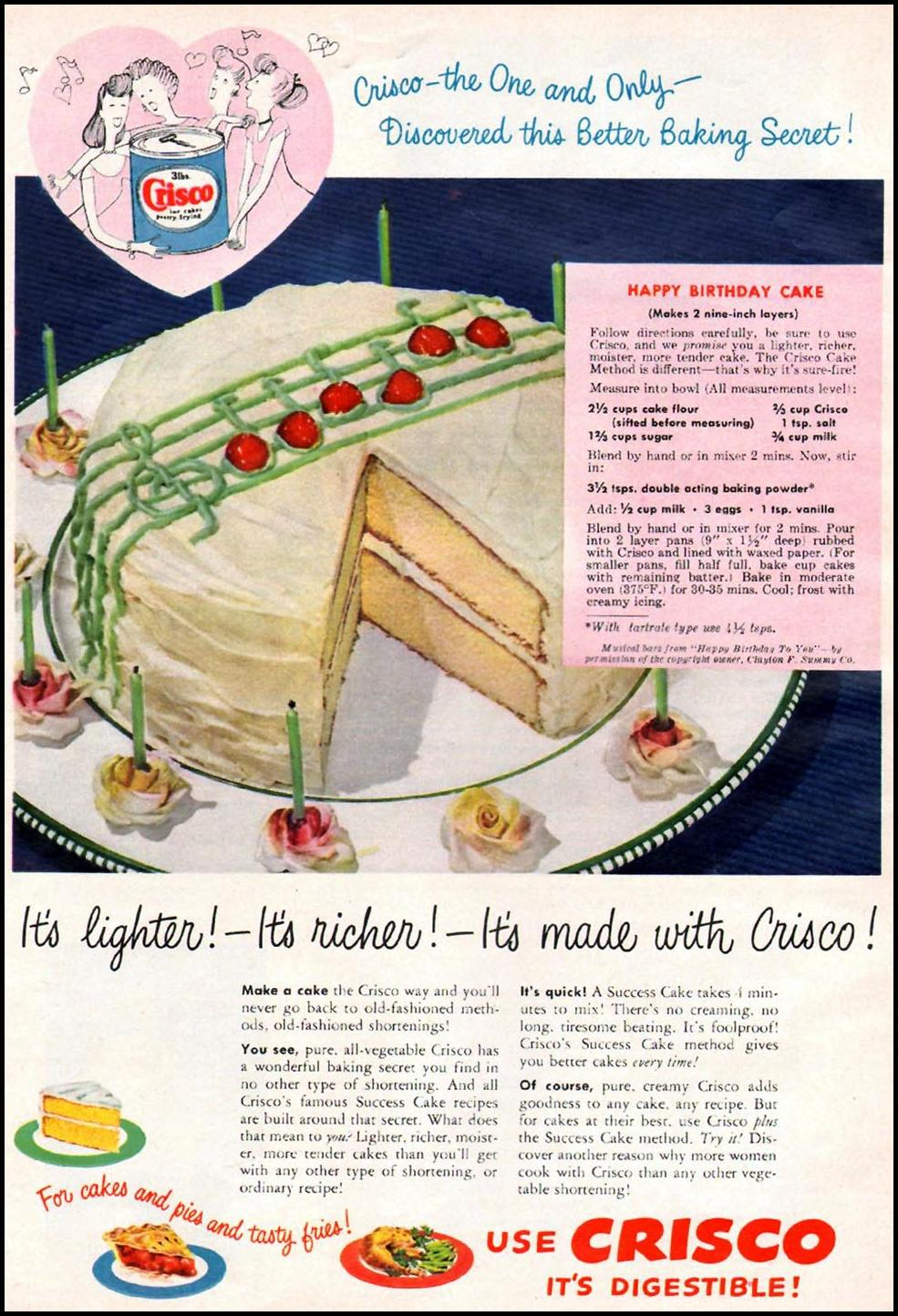 CRISCO VEGETABLE SHORTENING WOMAN'S DAY 01/01/1949 p. 14