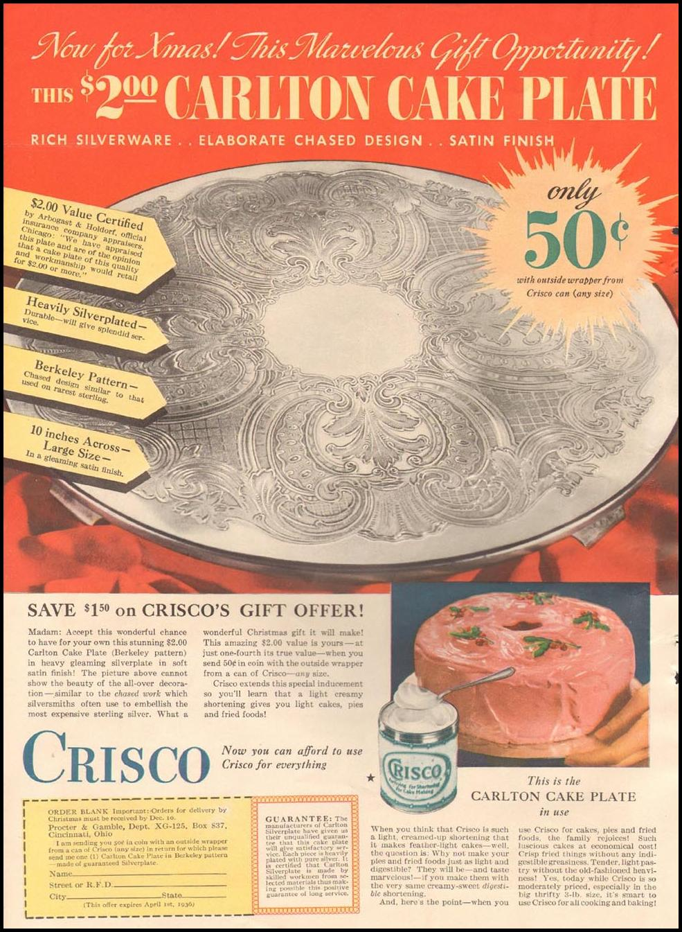 CRISCO VEGETABLE SHORTENING GOOD HOUSEKEEPING 12/01/1935 p. 12