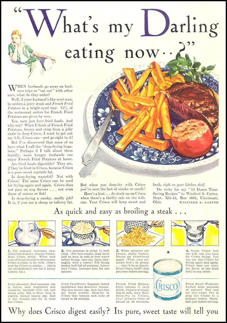 CRISCO VEGETABLE SHORTENING GOOD HOUSEKEEPING 01/01/1932 p. 107
