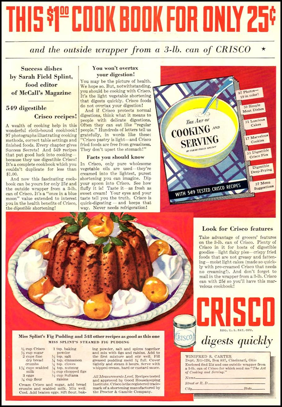 CRISCO VEGETABLE SHORTENING GOOD HOUSEKEEPING 12/01/1934