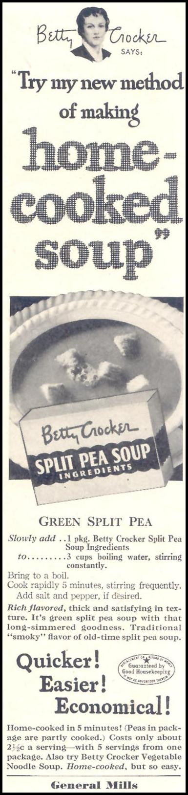 BETTY CROCKER SPLIT PEA SOUP MIX GOOD HOUSEKEEPING 07/01/1949 p. 27