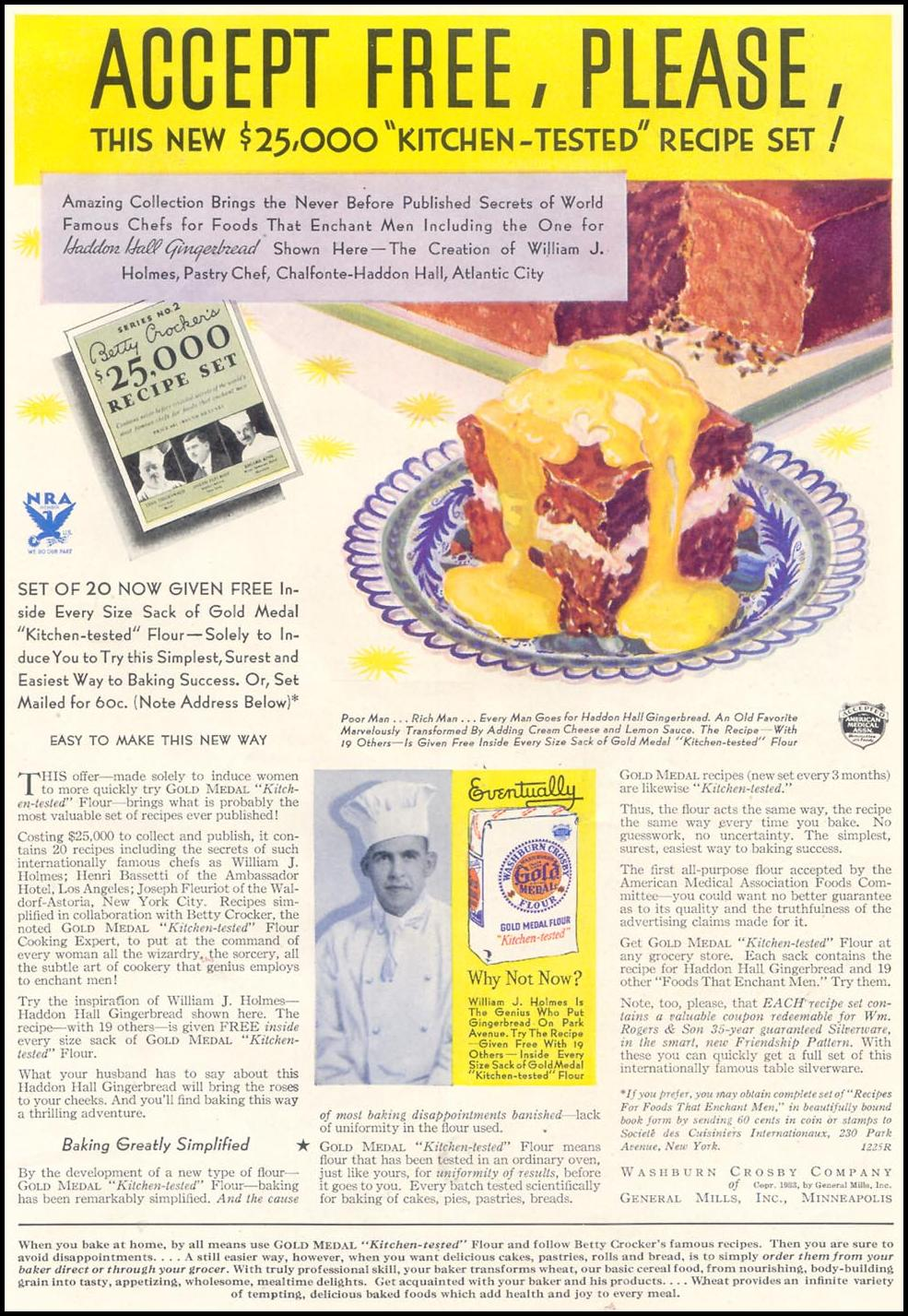 GOLD MEDAL FLOUR GOOD HOUSEKEEPING 11/01/1933