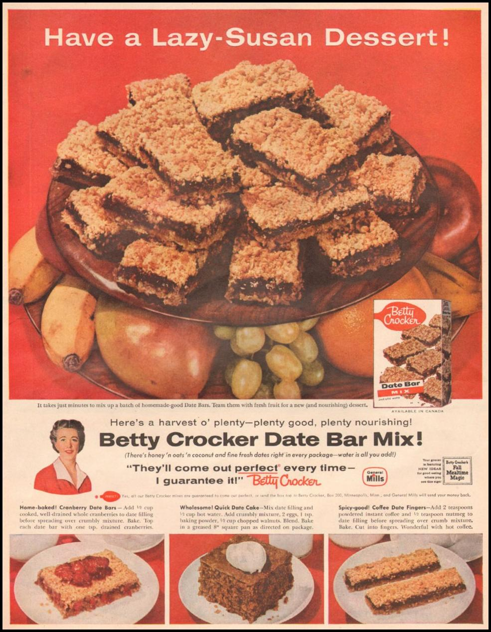 BETTY CROCKER DATE BAR MIX LOOK 10/29/1957 p. 83