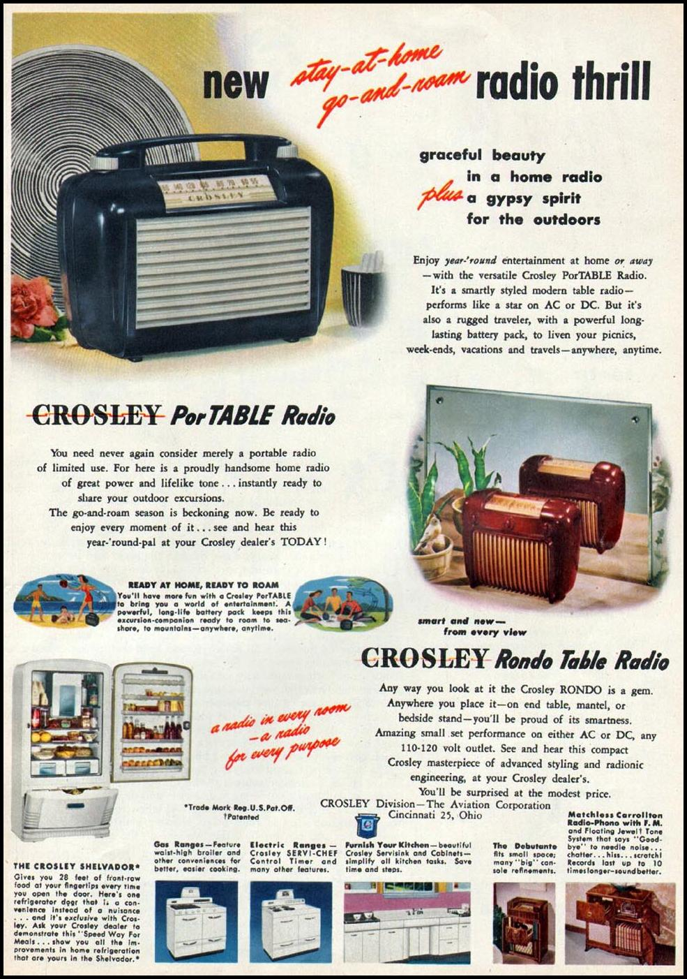 CROSLEY PORTABLE RADIO WOMAN'S DAY 06/01/1947 p. 21