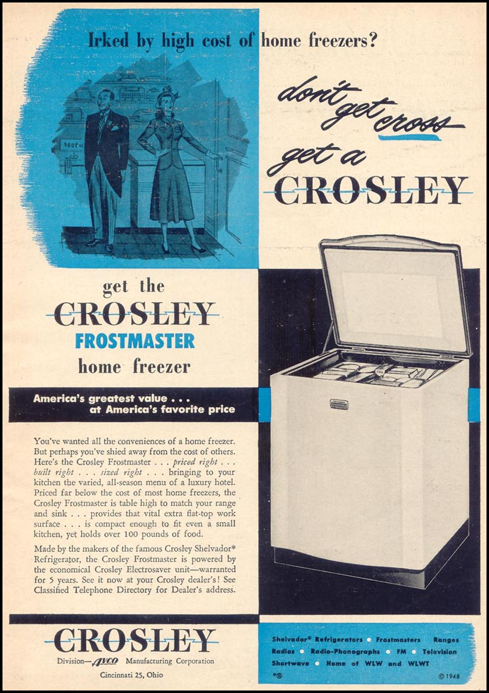CROSLEY FROSTMASTER HOME FREEZER WOMAN'S DAY 11/01/1948 p. 5