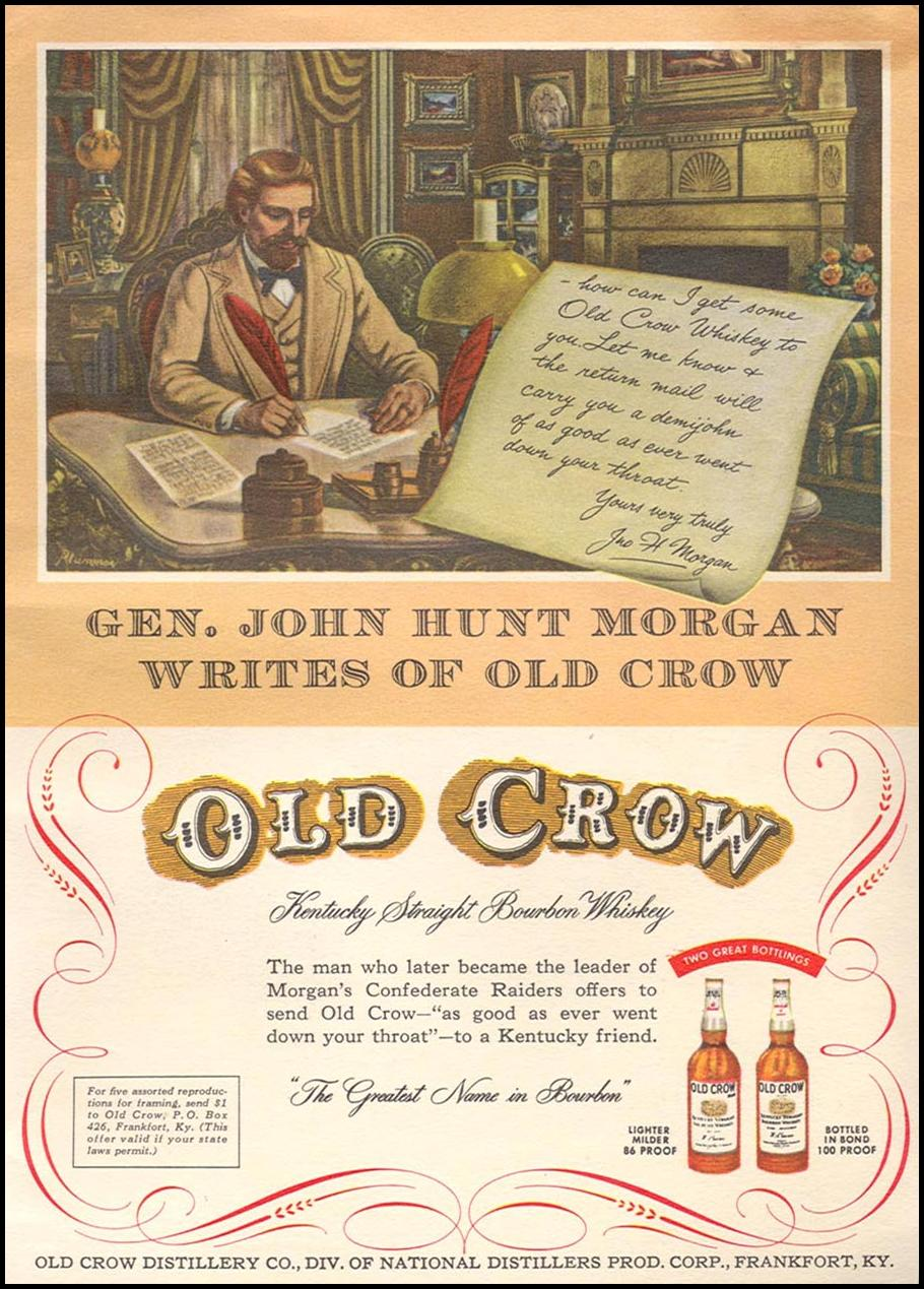 OLD CROW BOURBON WHISKEY CORONET 08/01/1955 INSIDE BACK
